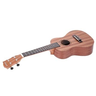 """ammoon 24"""" Sapeli Ukulele 4 Strings Rosewood Fretboard Musical Instrument Silvester Tag Geschenk vorhanden"""