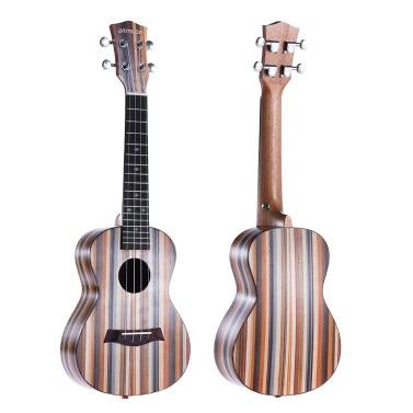 "ammoon 24 ""Acoustic Holz Sopran-Ukulele Ukelele Uke 18 Frets 4 Strings Okoume Hals Palisander Griffbrett Saiteninstrument Musical-Geschenk"