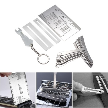 13pcs Luthier Guitar Bass Tools Set Pin Puller Keychain Double Sided Gauge Ruler 9 Stainless Steel Understring Radius Gauges 2 Protector Guards