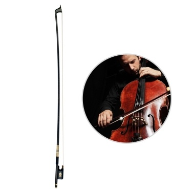 4/4 Cello Violoncello Bow Well Balanced Golden Braided Carbon Fiber Round Stick Ebony Frog AAA Mongolian Horsetail Hair Cello Parts Accessories