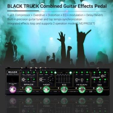 MOOER BLACK TRUCK 6-in-1-Kompressor für kombinierte Gitarreneffekte + Overdrive + Distortion + EQ + Modulation + Delay / Reverb Eingebautes Tuner-Tap-Tempo mit Tragetasche