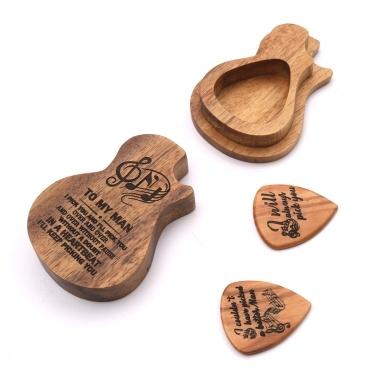 2 Pcs Wooden Guitar Picks Box Wood Picks Acoustic Electric Guitars Plectrum Bass Ukulele Musical Instrument Tool