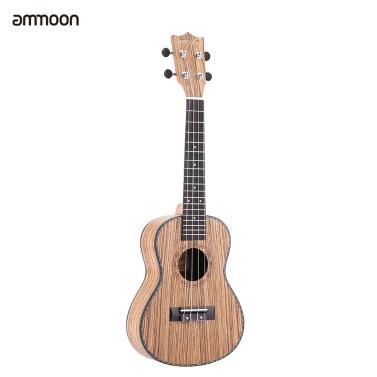 "ammoon 24"" Ukulele 4 Strings Zebrawood Board Rosewood Fretboard OX Bone Sattel Musical Instrument Geschenk vorhanden"