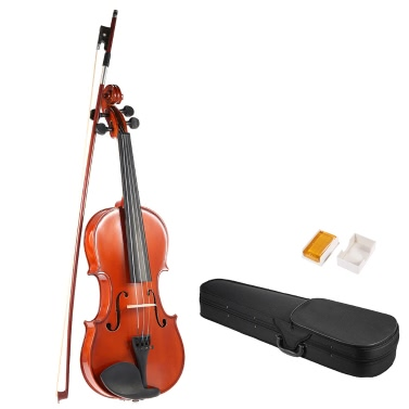 ammoon 4/4 Full Size Solid Wood Antique Violin Fiddle Gloss Finish Spruce Face Board Hard Case Bow Rosin