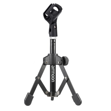 ammoon MS-12 Mini Foldable Adjustable Desktop Tripod Microphone Stand with MC3 Mic Clip Holder Bracket for Meeting Lectures Podcasts