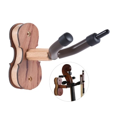 Hardwood Violin Hanger Hook Bow Holder Home & Studio Wall Mount Use Rosewood Color