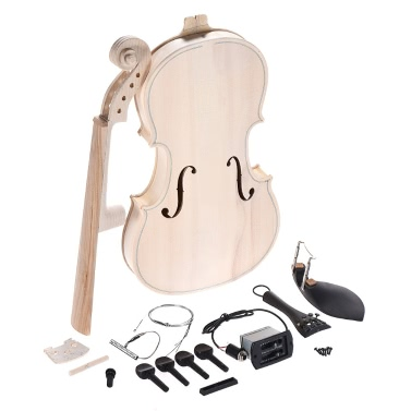 DIY 4/4 Full Size Natural Solid Wood Acoustic Violin Fiddle Kit EQ Spruce Top Maple Back Neck Fingerboard Aluminum Alloy Tailpiece