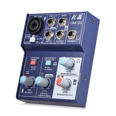 ICM UM-33 Mini 3-Channel Sound Card Mixing Console,free shipping $49.99(Code:SOUND)