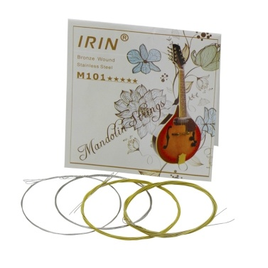 IRIN M101 Full Set Mandolin Strings Bronze Wound Stainless Steel Silver & Gloden Color (.010-.034)