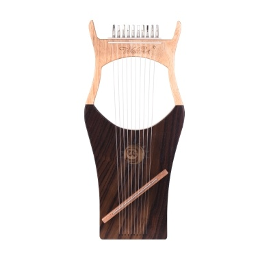 Walter.t 10-String Wooden Lyre Harp Nylon Strings Rosewood Topboard Rubber Wood Backboard String Instrument Carry Bag WH01