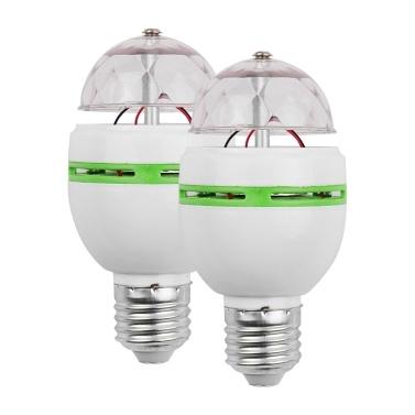 2 pcs Pleine Couleur Rotation Lampe LED Ampoule Stroboscopique Éclairage de Scène 3 W E27 pour Disco Ball Party Famille Célébration