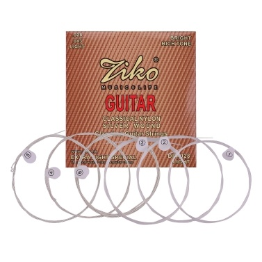 ZIKO DPA-028 Classical Guitar Strings Normal Light Tension Silver Wound Nylon String Anti-Rust Set of 6pcs Musical Instrument String Accessories