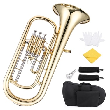 ammoon Brass B Flat Baritone Horn Bb Piston-Style Gold Lacquer Surface Wind Instrument
