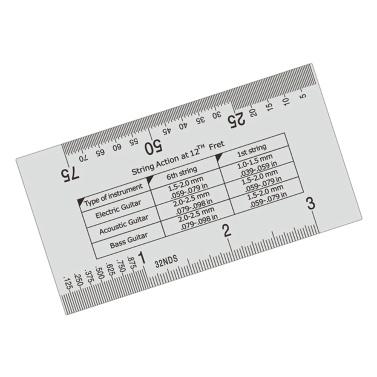 Stainless Steel Guitar String Action Ruler String Pitch Ruler Guitar Measuring Gauge Tool 89*51mm