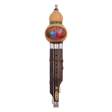 3 Ton C-Taste Hulusi Kürbis Kürbisflöte Schwarz Bambuspfeifen Chinesisches traditionelles Instrument Normal