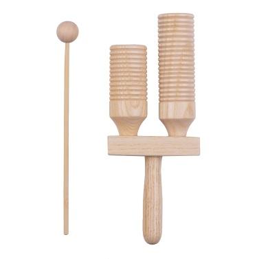 Strumento musicale a percussione in legno a percussione in legno a 2 toni Giocattoli musicali per bambini con mazzuolo