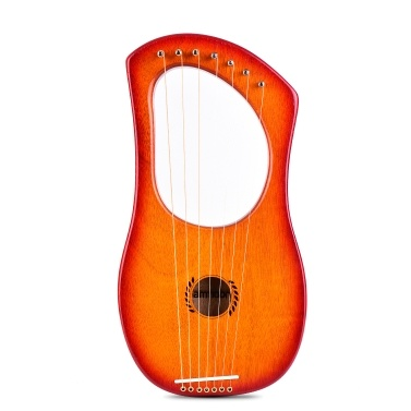ammoon 7-String Lyre Harp Ancient Style Lyres Okoume Wood String Instrument