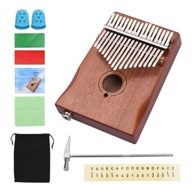 Muslady 17-Key EQ Solid Wood Electric Finger Thumb Piano Built-in Pickup 6.35mm Audio Interface with Tuning Hammer Wipe Cloth Notes Sticker Finger Guard
