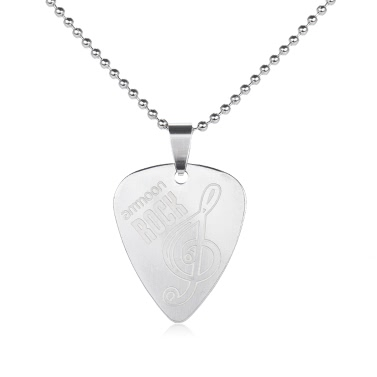 Ammoon Guitar Pick Halskette Edelstahl mit 50cm / 20in Ball Kette Silber Farbe