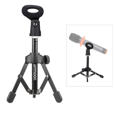 ammoon MS-12 Mini Foldable Adjustable Desktop Microphone Stand Tripod with MC4 Mic Clip Holder Bracket for Meeting Lectures Podcasts