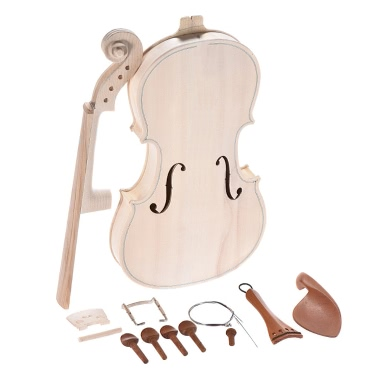 DIY 4/4 Full Size Natural Solid Wood Acoustic Violin Fiddle Kit Spruce Top Maple Back Neck Jujube Wood Accessory Aluminum Alloy Tailpiece
