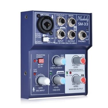 Muslady SM-33 Mini 3-Kanal Soundkarte Mischpult Digital Audio Mixer