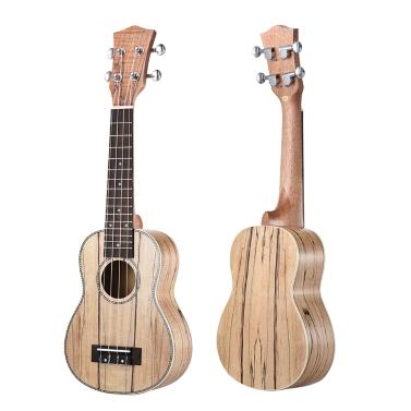 Ammoon Sopran Ukulele 21 Zoll Spalted Ahorn Korpus Palisander Griffbrett Hawaiian Guitar Ukulele Set