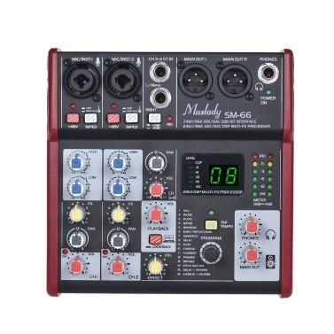 Muslady SM-66 Portable 4-Kanal Soundkarte Mischpult Mixer Eingebaute 16 Effekte mit USB-Audio-Interface Unterstützt 5V Power Bank für die Aufnahme DJ-Netzwerk Live-Broadcast-Karaoke