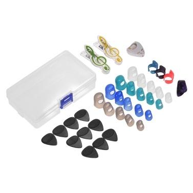 Guitar Accessories Kit Includes 20pcs Silicone Guitar Finger Protectors + 10pcs Guitar Picks + 4pcs Thumb & Finger Picks + Pick Holder + 2pcs Music Page Clips Plastic Storage Box Acoustic Guitar Beginners