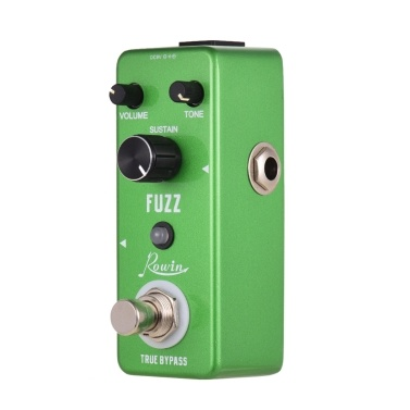 Rowin FUZZ Guitar Effect Pedal with Volume Tone Sustain Control Knob Aluminum Alloy Shell True Bypass
