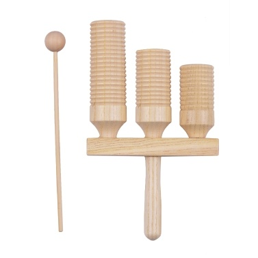 Percussion Wood Block 2 Tone Wooden Percussion Musical Instrument Children Musical Toys with Mallet