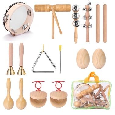 13pcs Children Hand Percussion Instruments Kit Portable Kids Music Enlightenment Musical Instruments Set
