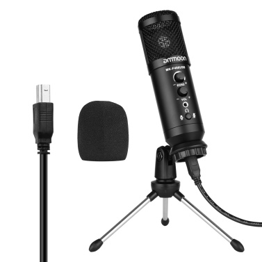 ammoon USB Condenser Microphone Computer Mic Kit with Mini Desktop Metal Tripod Stand Windscreen USB Cable for Music Recording Live Streaming Online Singing Meeting Teaching Game