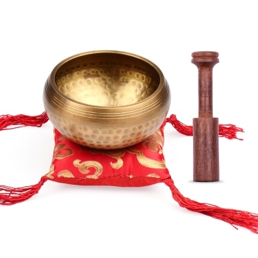 ammoon Tibetan Singing Bowl Set 9.5cm caliber scale bowl + 12*2cm ordinary wooden stick + 10cm red square pad