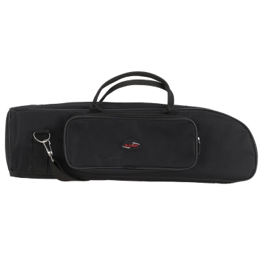 Twill Surface Trumpet Bag Case Thicken Padded Foam Non-woven Inner Cloth with Adjustable Shoulder Strap Pocket