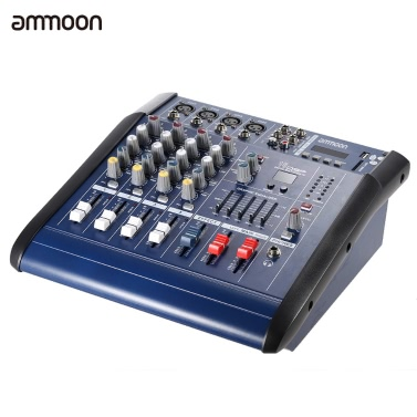 ammoon PMX402D-USB 4 Channel Digtal Mic Line Audio Mixing Mixer Console with 48V Phantom Power 16 Built-in Sound Effects for Recording DJ Stage Karaoke Music Appreciation