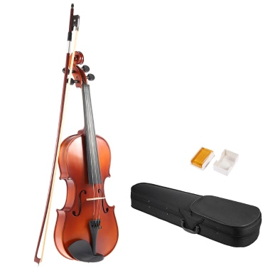 ammoon 1/2 Solid Wood Antique Violin Fiddle Matte Finish Spruce Face Board Hard Case Bow Rosin