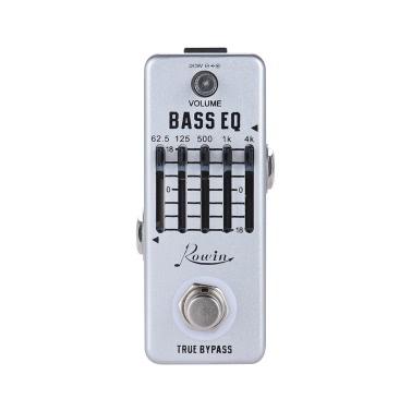 Rowin Bass-Gitarren-Equalizer Effektpedal 5-Band-EQ Aluminiumgehäuse True Bypass