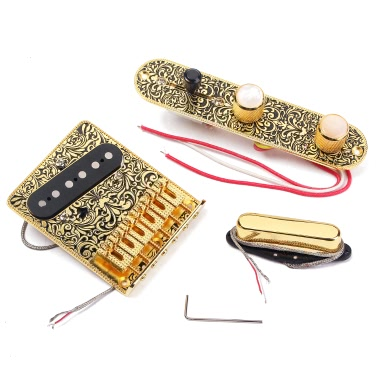 High-quality Electric Guitar 6 Saddle String Bridge Pickup Set 3 Way Switch Control Plate Beautiful Decorative Pattern