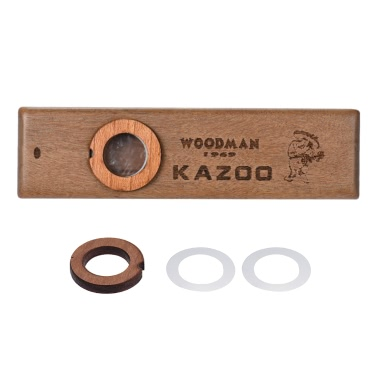 Wooden Kazoo Musical Instrument Ukulele Guitar Partner Wood Harmonica Metal Box Music Lover