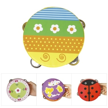 """65% OFF 6"""" Handheld Tambourine Hand Drum Percussion Musical Toy,limited offer $3.56"""