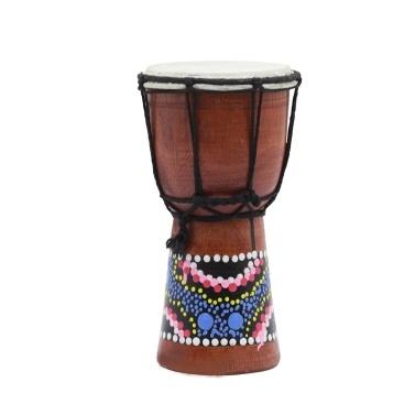 4 Zoll Kompakte Größe Holz Afrikanische Trommel Djembe Bongo Hand Drum Percussion Musikinstrument mit Bunten Muster (Muster Zufällige Lieferung)