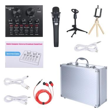 V8 Multifunctional Live Sound Card Intelligent Volume Adjustable Audio Mixer Sound Card