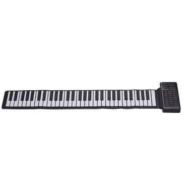Multifunction Portable Electric 61 Keys Hand Roll Up Piano Flexible Silicone Piano Keyboard Built-in Speaker Rechargeable Lithium Battery Reverberation BT Function Digital Piano Keyboard