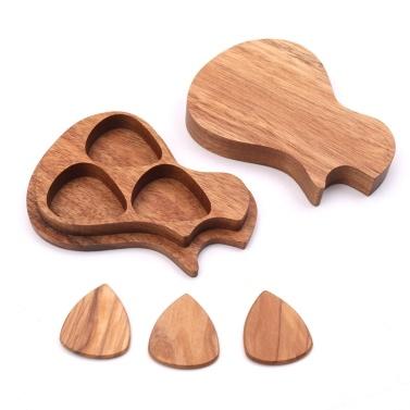 3 Pcs Wooden Guitar Picks Case Wood Picks Acoustic Electric Guitars Bass Ukulele Musical Instrument Tool