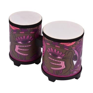 Bongo Drum Percussion Instrument Schweinsleder Drum Head Holz Musikspielzeug mit einem Paar Schlägel
