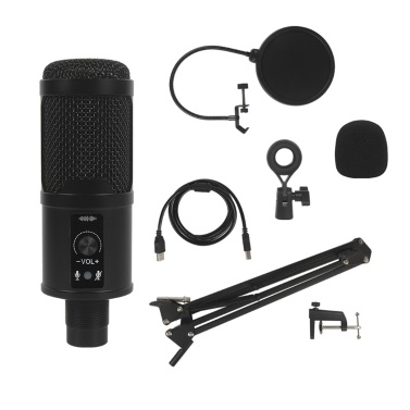Wired USB Microphone Condenser Mic with USB Cable for Computer Laptop Live Streaming Music Recording Online Chatting Singing