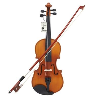 ammoon Vollgröße 1/4 Violine Geige natürlichen akustischen solide Holz Fichte Front Board Flamme Ahorn furniert für Anfänger Student Performer mit Fall Rosin Reinigung Tuch