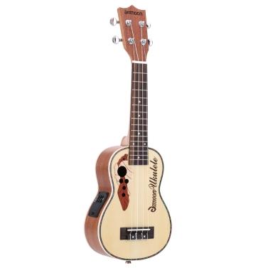 "ammoon Spruce Ukelele acústico de 21 ""15 trastes 4 cuerdas Instrumento musical de cuerda con ecualizador incorporado"