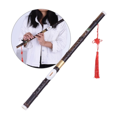 Detchable Natural Black Bamboo Bawu Ba Wu Transverse Flute Pipe Musical Instrument in G Key for Beginner Music Lovers